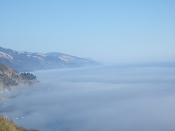 The fog meets the cliffs at Big Sur