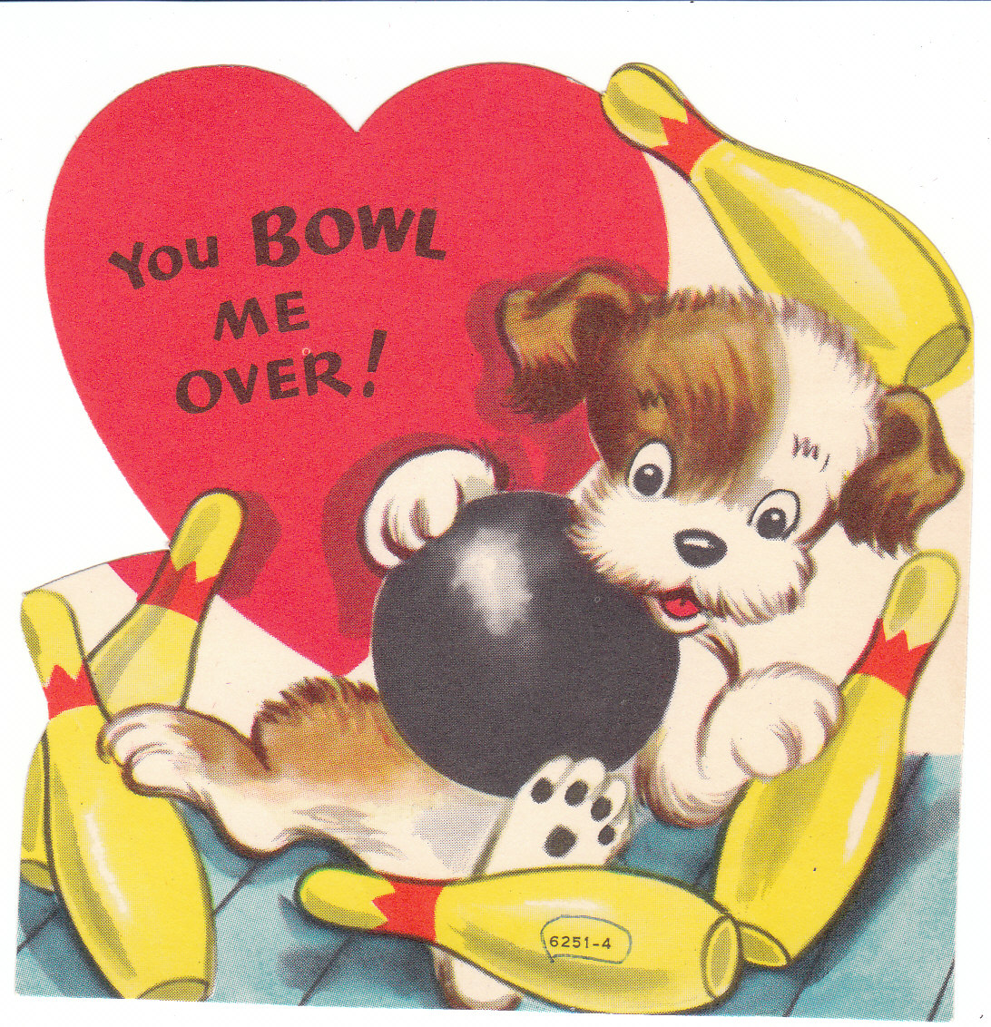 Vintage Valentine Card-Puppy Eating-1950/'s