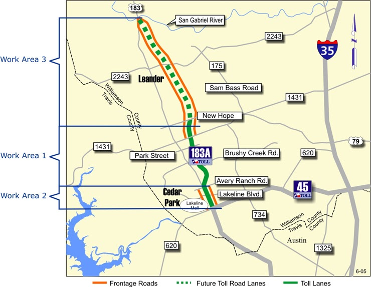 Austin Mojo Tolls In The News Another Section Of A Toll Road - 183a toll road map