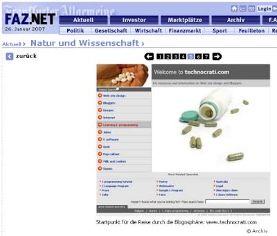 Screenshot aus der FAZ-Galerie mit Abbildung der Website Technocrati.com