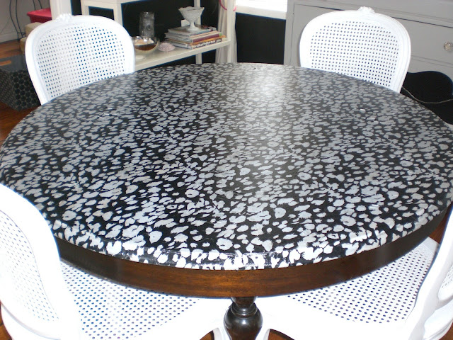 Parlour decoupaging with fabric for Redo table top ideas