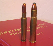 The huge .505 Gibbs dwarfs even the big .416 Rigby cartridge.