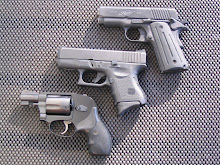 Kimber in 45 ACP, Glock in 40 Auto, Smith & Wesson Bodyguard in 38 Special.