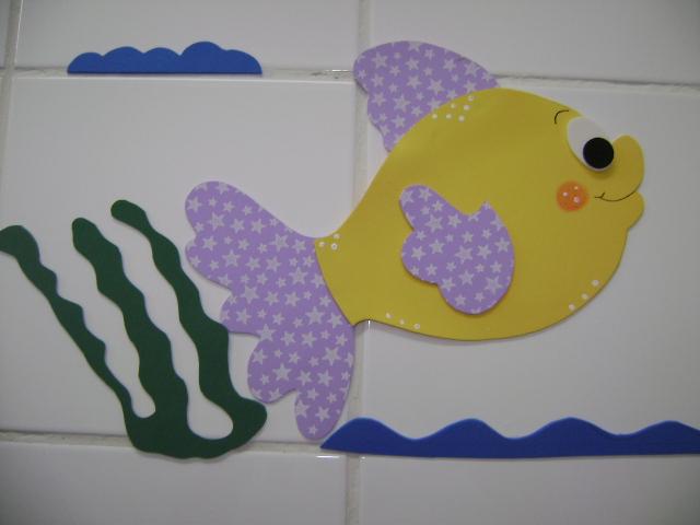 Decoração em EVA Peixes -> Decoracao De Banheiro Infantil Em Eva