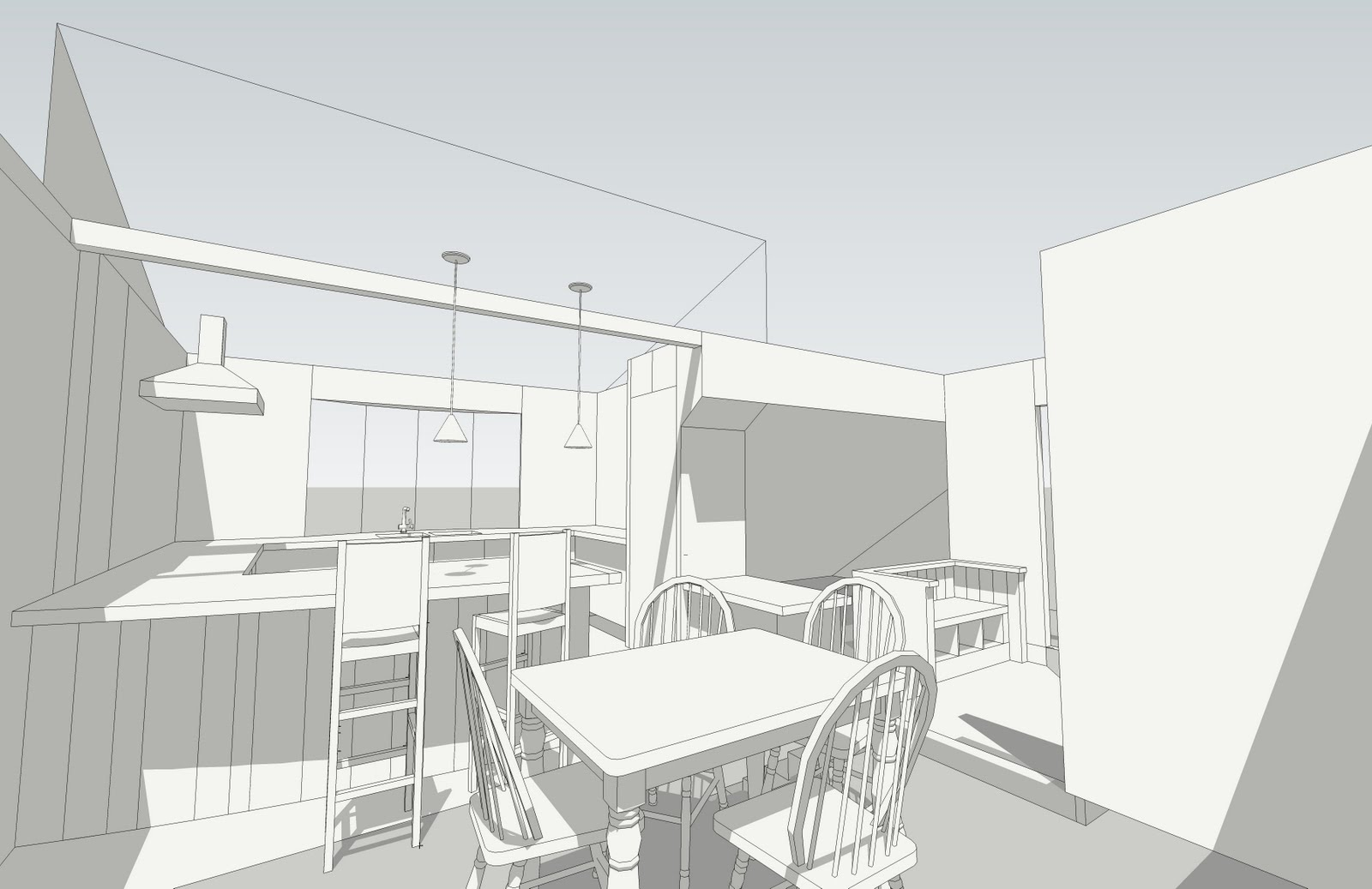 The First Sketches Are Taken From A Model Of The Kitchen Interior Followed By A Quick Hand Sketch Plan Of The Renovated Design For Before And After Shots