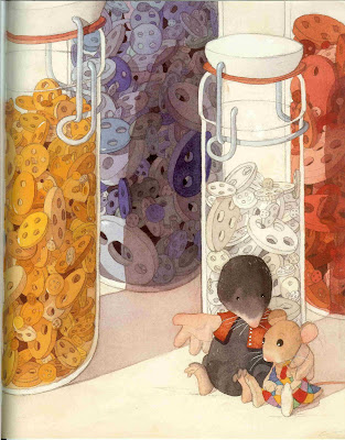 Page from a picture book, showing a mole and a mouse in front of a collection of jars of buttons.