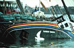 O Rainbow Warrior afundando após o ataque francês
