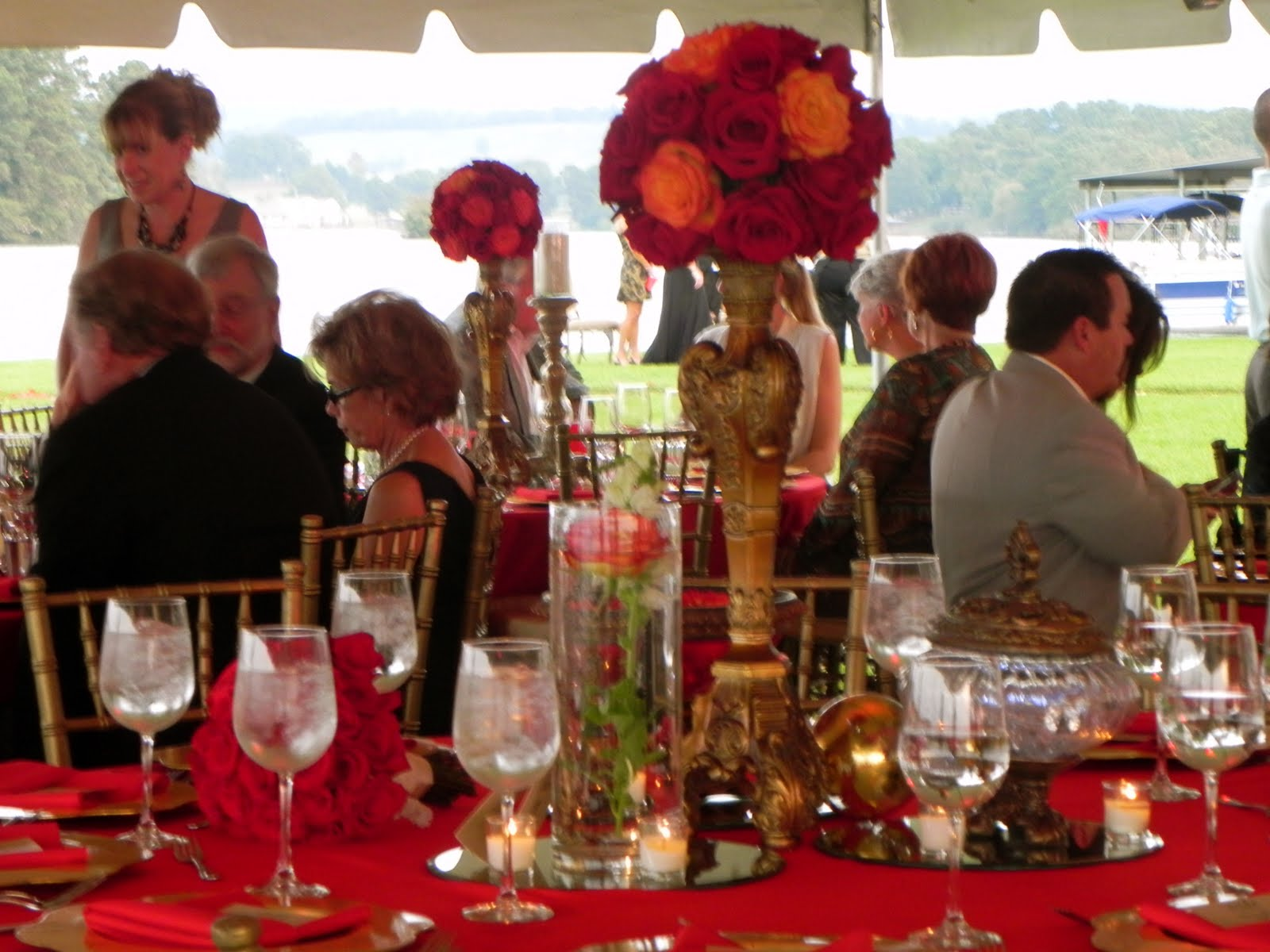 Red and gold centerpieces viewing gallery