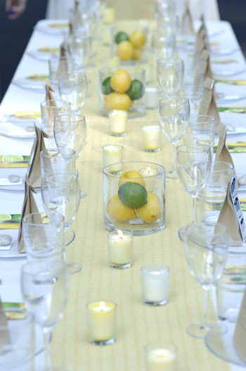Fruit as centerpiece or decor Using cut or whole lemons limes