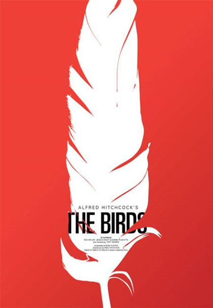 Here's Bass's simple but effective poster for Alfred Hitchcock's The Birds.
