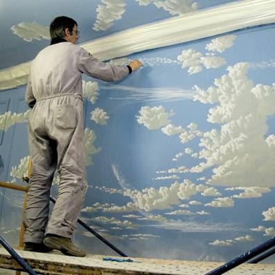 Taller de julia torregrosa soria jorge fin pintando nubes - Como pintar el techo ...