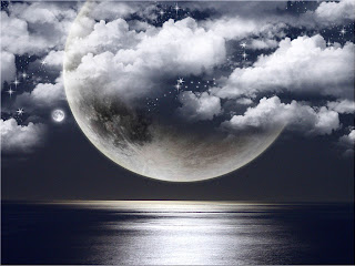 3D Moon on Black wallpaper