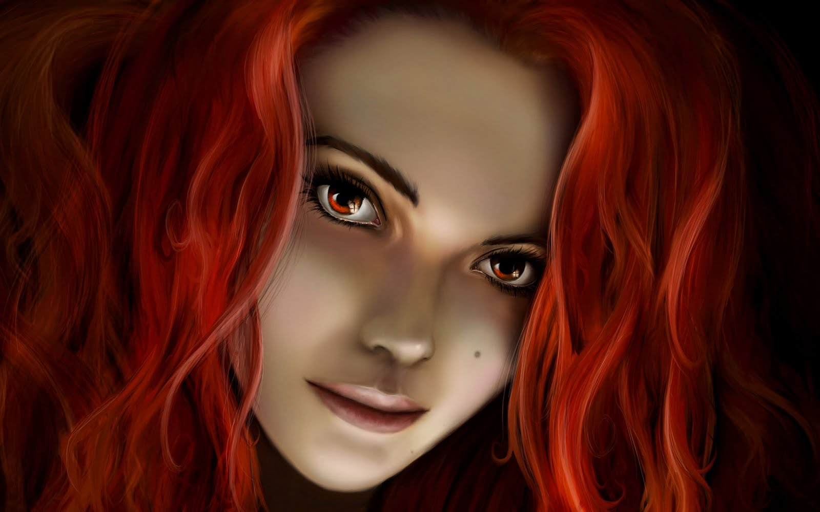 To Download Fantasy Girl With Red Hair wallpaper click on full size