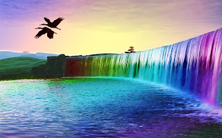 3D Colorful Waterfall wallpaper