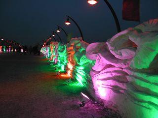 Illuminated snow sculptres