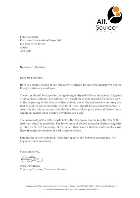 business letter heading template