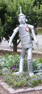 Sculpture of the Tin Man in vegetable garden at Toledo Botanical Garden