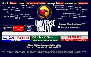 Home page do UOL em 1996