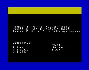 Galakzions main menu - ZX Spectrum