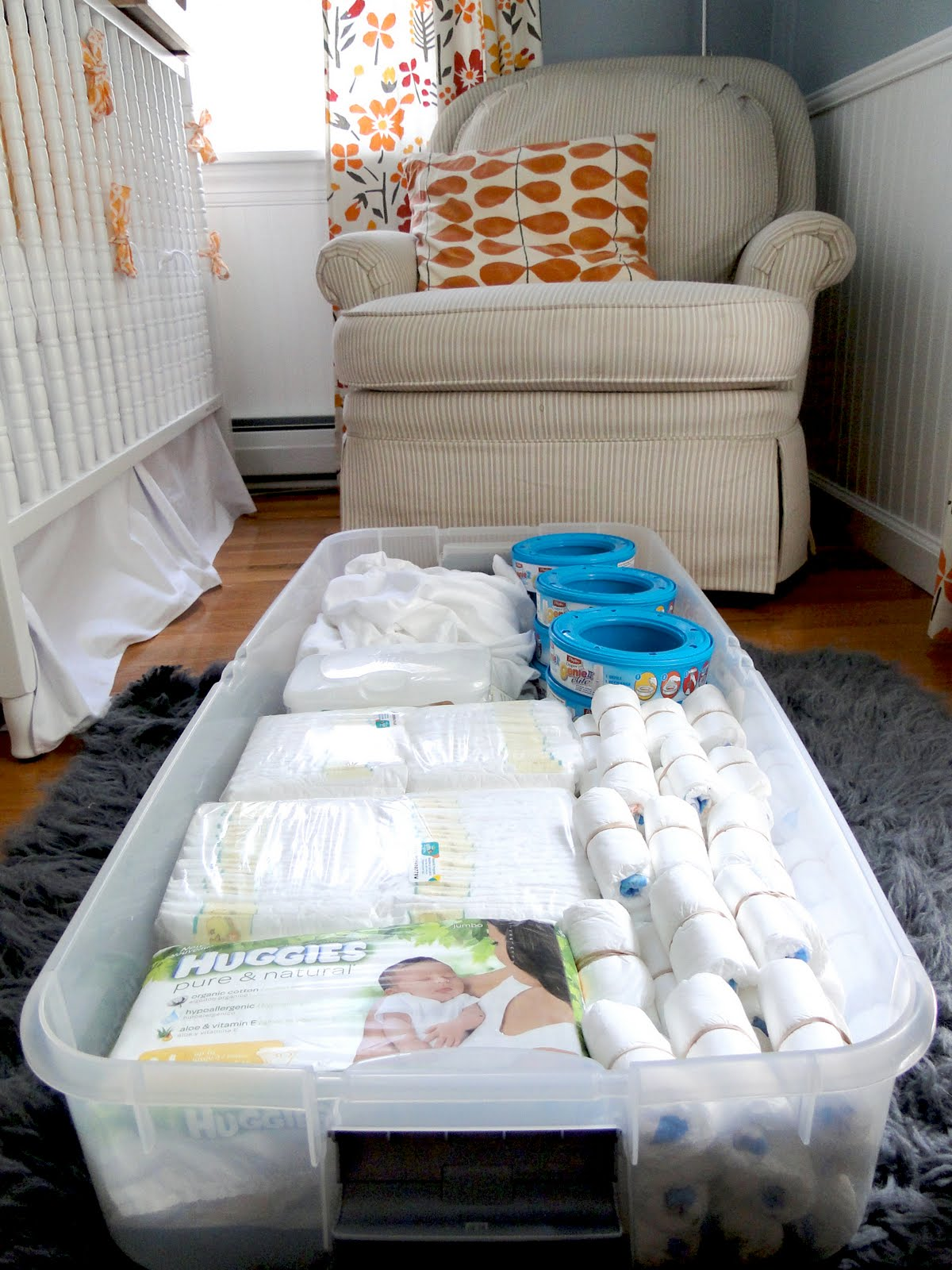 A lovely lark nursery organization for Baby organizer ideas