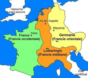 Charles the Bald = France Louis the German = Germany Lothair = Italy