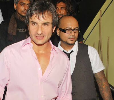Salman Khan,Saif Ali Khan at Hakim Aalim's hair and Tattoo Lounge Opening