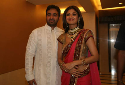 Shilpa Shetty in a Party Wear Saree with a Short Sleeve Blouse