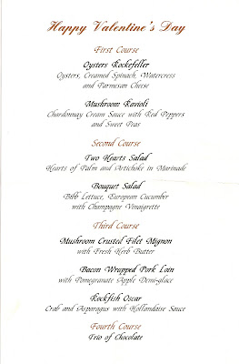 Town Point Club Valentine's Menu