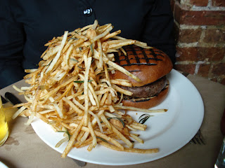 The Spotted Pig dish Chargrilled Burger with Fries