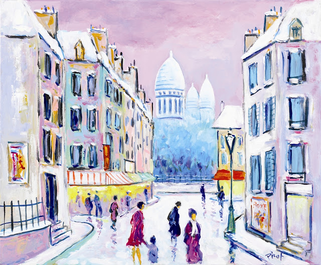 Montmartre un Jour de Neige by Jean-Claude Picot, Park West Gallery Fine Art Collection
