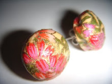 chiyogami floral decoupaged studs