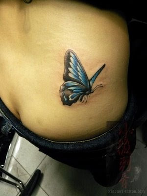 Small Blue Butterfly Tattoo for women