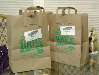 Paper bags full of groceries from Harris Teeter Grocery Store