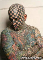 Facial Tattoo Checkered