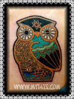 Tattooed owl in color