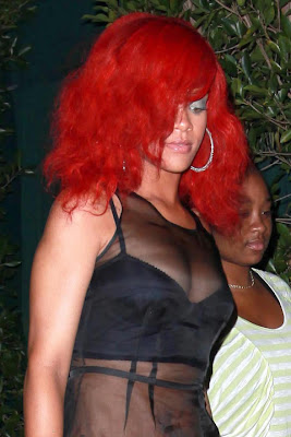 Rihanna wearing a see-through shirt