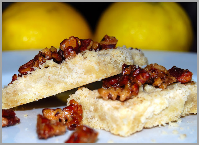 Lemon Shortbread with Candied Pecan Topping, Vegan Recipe