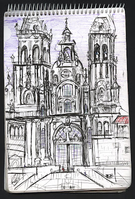 dibujo catedral santiago compostela