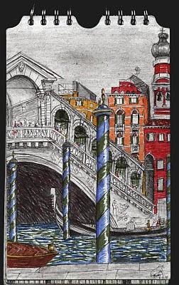 Ponte Rialto. Venezia. Italia. dibujo, drawing