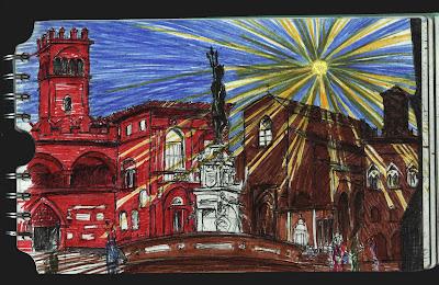 Sol en la Piazza de Neptuno de Bologna. Italia. Dibujo, drawing