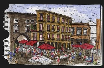 La Pescheria de Catania. Sicilia. Italia. dibujo, drawing
