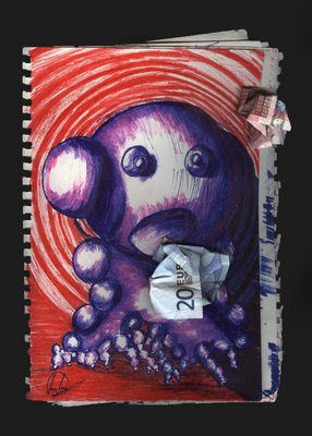 dibujo Las burbujas nacen, crecen, se reproducen y de indigestión de billetes de 500 euros: mueren