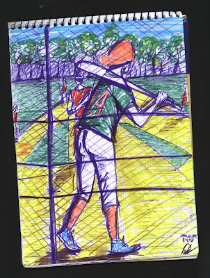 dibujo Sunday baseball match at Harlem. New York City drawing