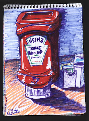dibujo bodegón yankee. Ketchup. New York City NYC. Still live drawing. At Hardrock café, Times Square