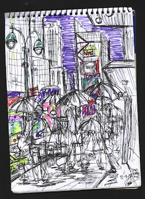 dibujo Lluvia en Times Square. Rain at Times Square. New York City. NYC drawing