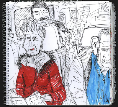 dibujo de pasajeros de tren, estafados por Esperanza Aguirre por una subida de casi un 20 % en el abono transporte en un año
