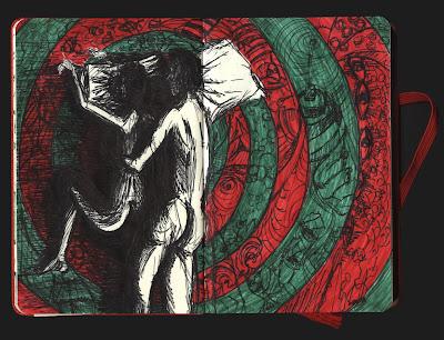 dibujo dormir desnudos, postura felicidad, sueños de invierno