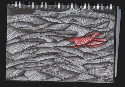 dibujo marea humana, abrigo rojo. human flood drawing, red coat