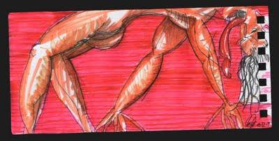 dibujo colgado, hanged drawing