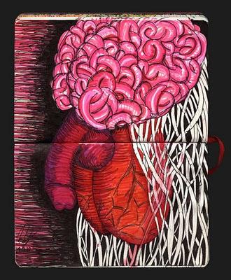 dibujo hombre CCC, cabeza, corazón, cojones. hhh man drawing, have guts, head, heart